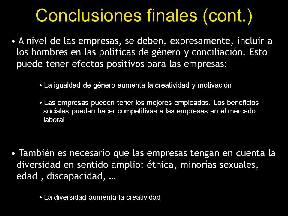 Conclusiones finales (cont.)