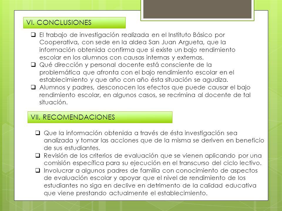 VI. CONCLUSIONES VII. RECOMENDACIONES