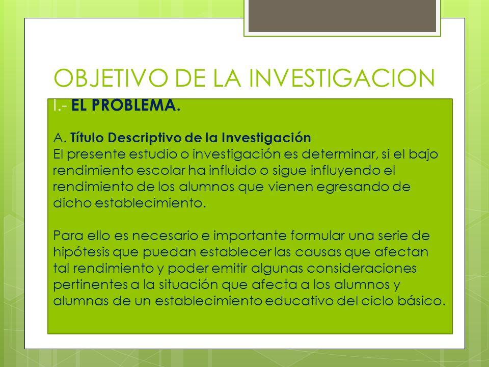 OBJETIVO DE LA INVESTIGACION