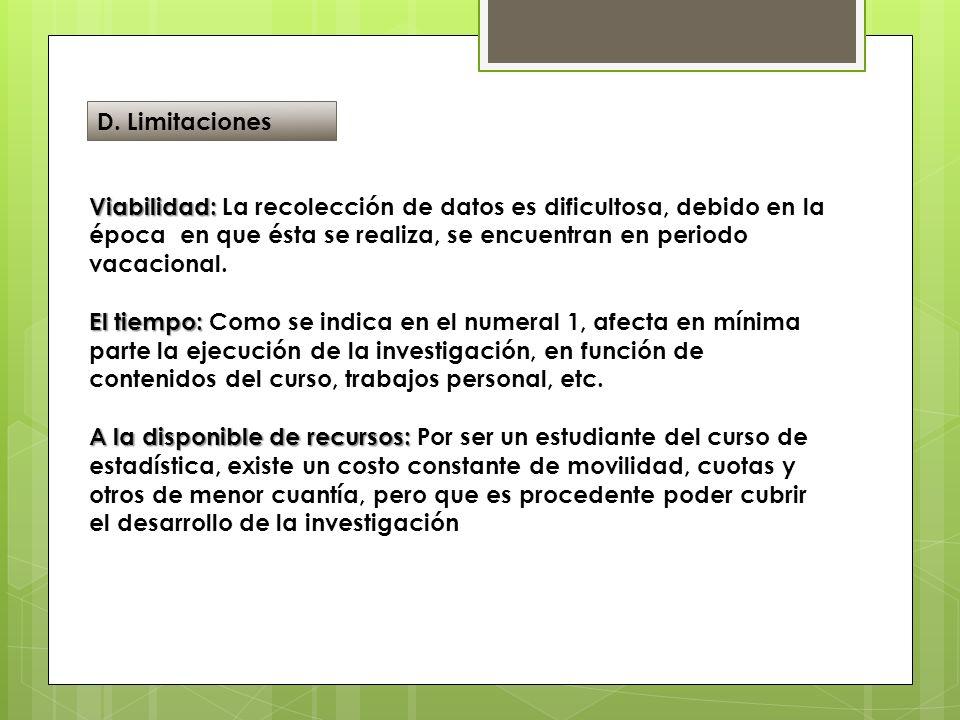 D. Limitaciones Viabilidad: La recolección de datos es dificultosa, debido en la época en que ésta se realiza, se encuentran en periodo vacacional.