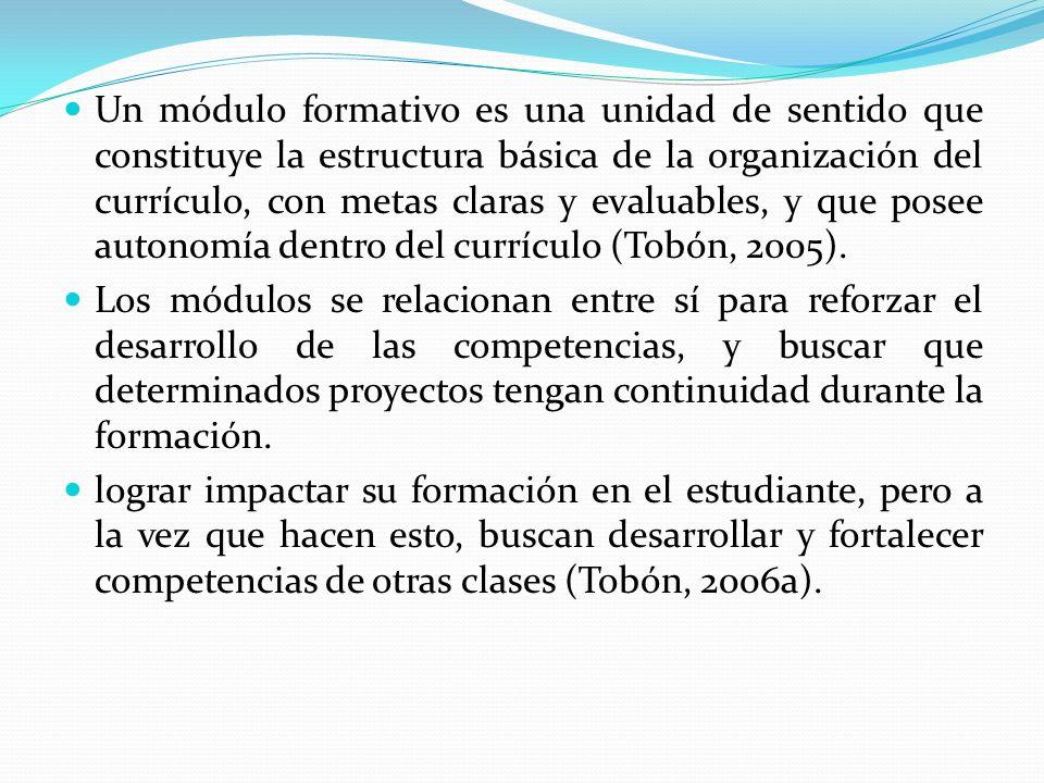 Un módulo formativo es una unidad de sentido que constituye la estructura básica de la organización del currículo, con metas claras y evaluables, y que posee autonomía dentro del currículo (Tobón, 2005).
