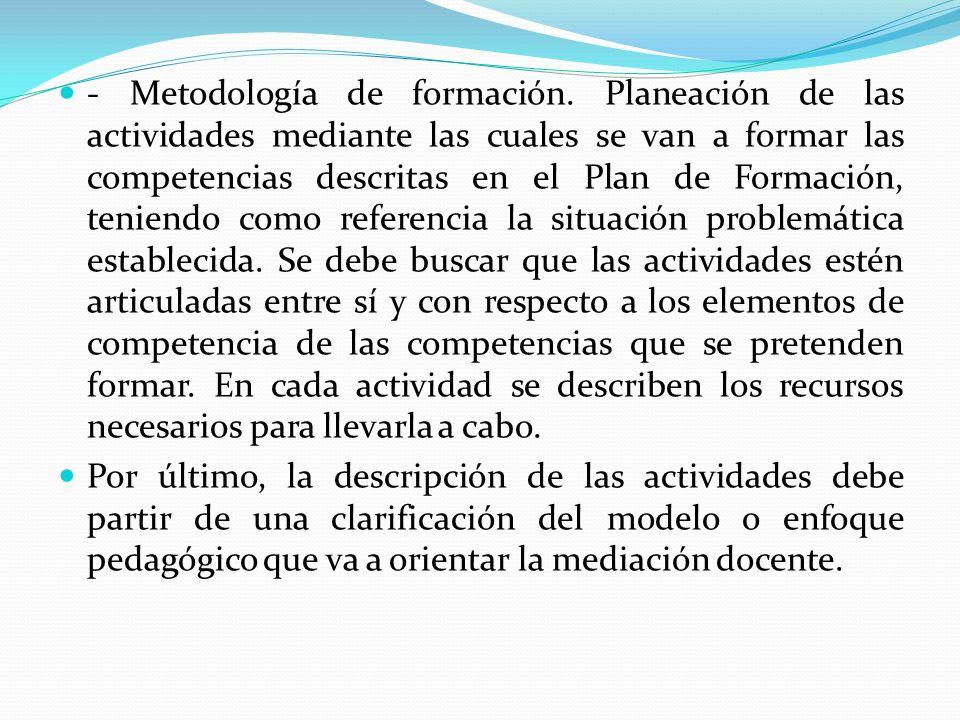 - Metodología de formación