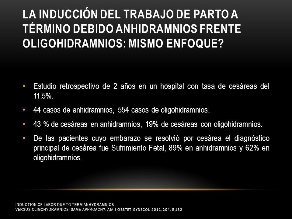 LA INDUCCIÓN DEL TRABAJO DE PARTO A TÉRMINO DEBIDO ANHIDRAMNIOS FRENTE OLIGOHIDRAMNIOS: MISMO ENFOQUE