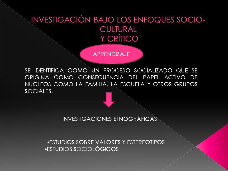 INVESTIGACIÓN BAJO LOS ENFOQUES SOCIO-CULTURAL Y CRÍTICO