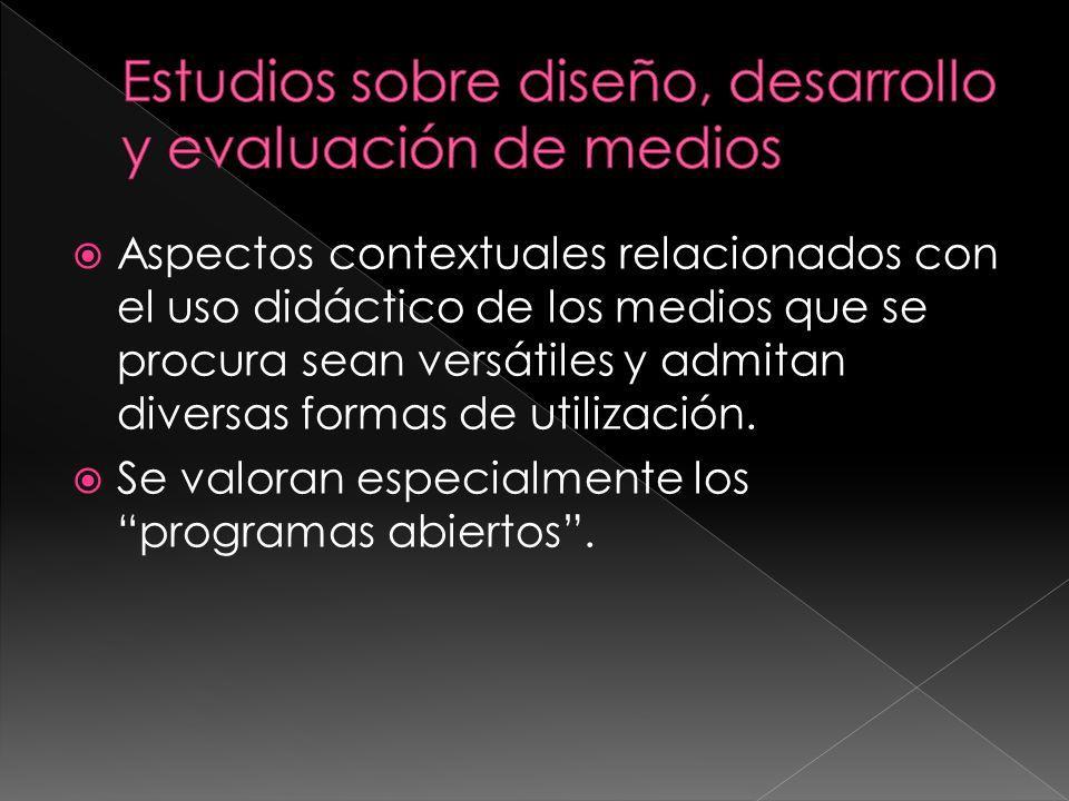 Estudios sobre diseño, desarrollo y evaluación de medios