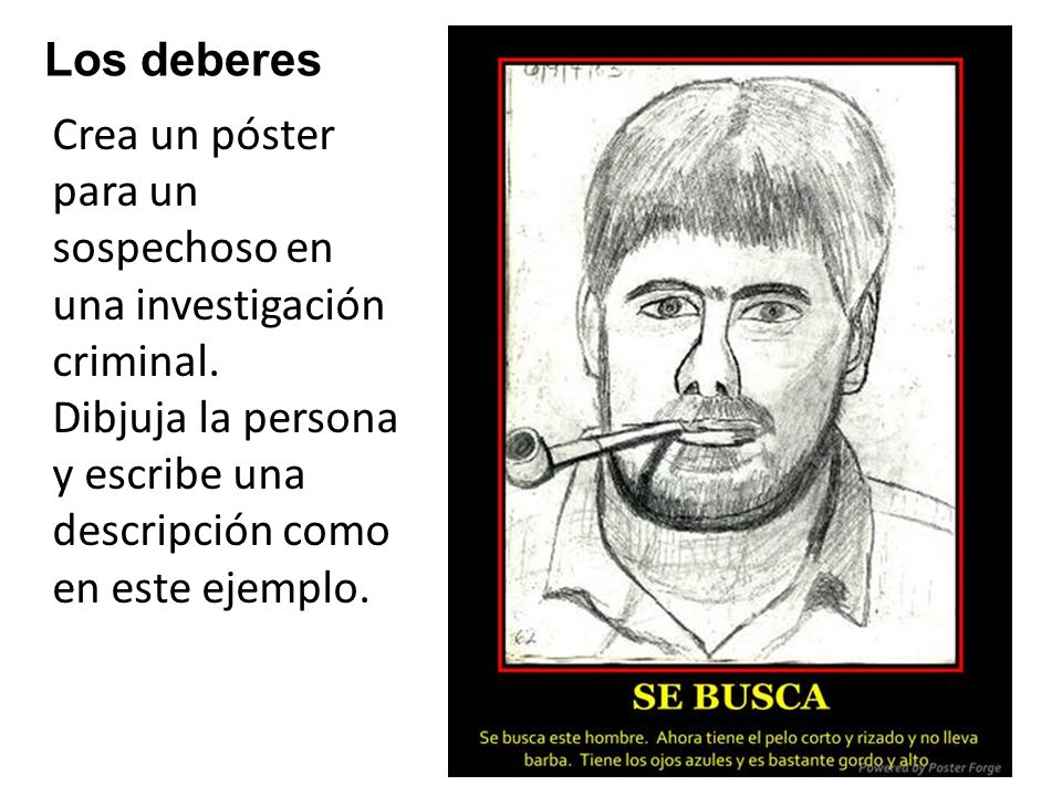 Los deberes Crea un póster para un sospechoso en una investigación criminal.