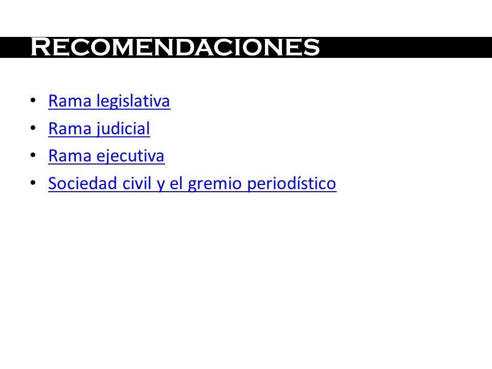 RECOMENDACIONES Rama legislativa Rama judicial Rama ejecutiva