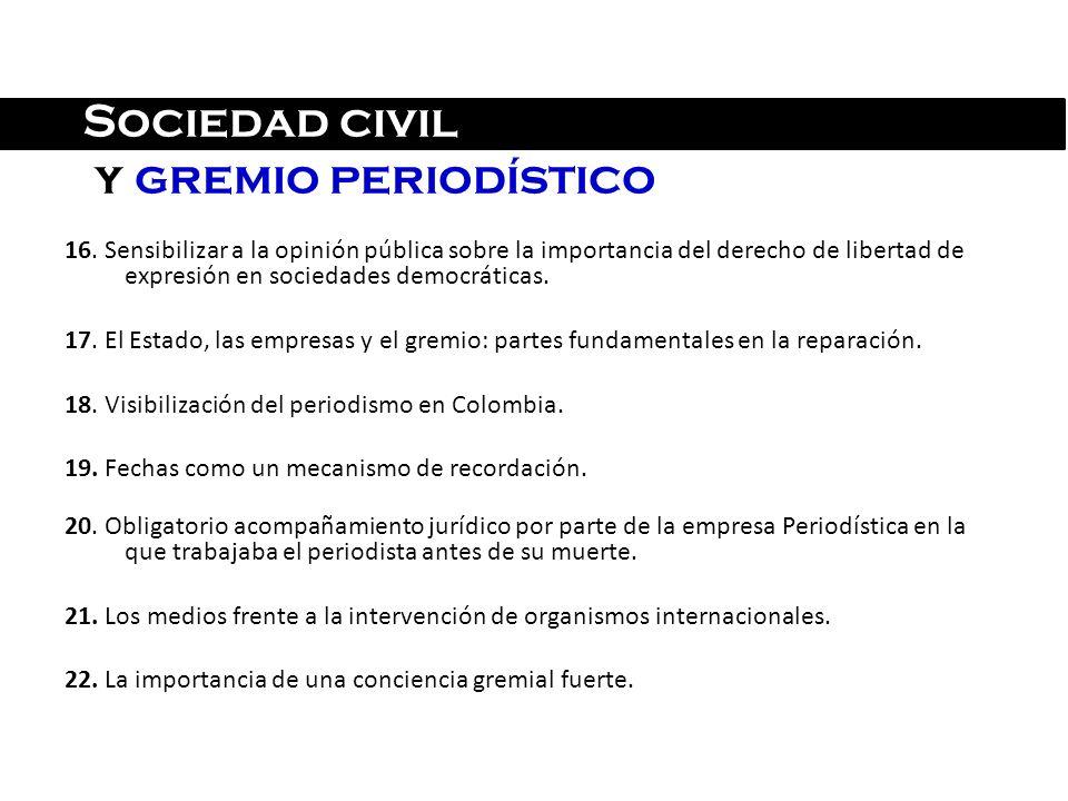 Sociedad civil y gremio periodístico