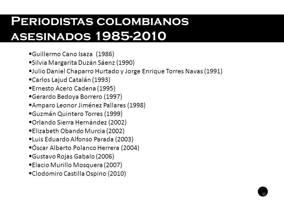 Periodistas colombianos asesinados 1985-2010