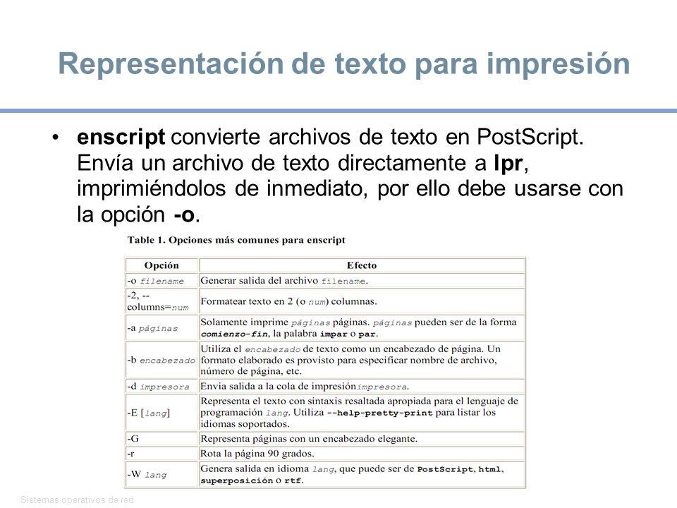 Representación de texto para impresión