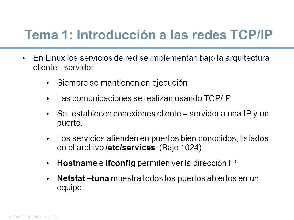 Tema 1: Introducción a las redes TCP/IP