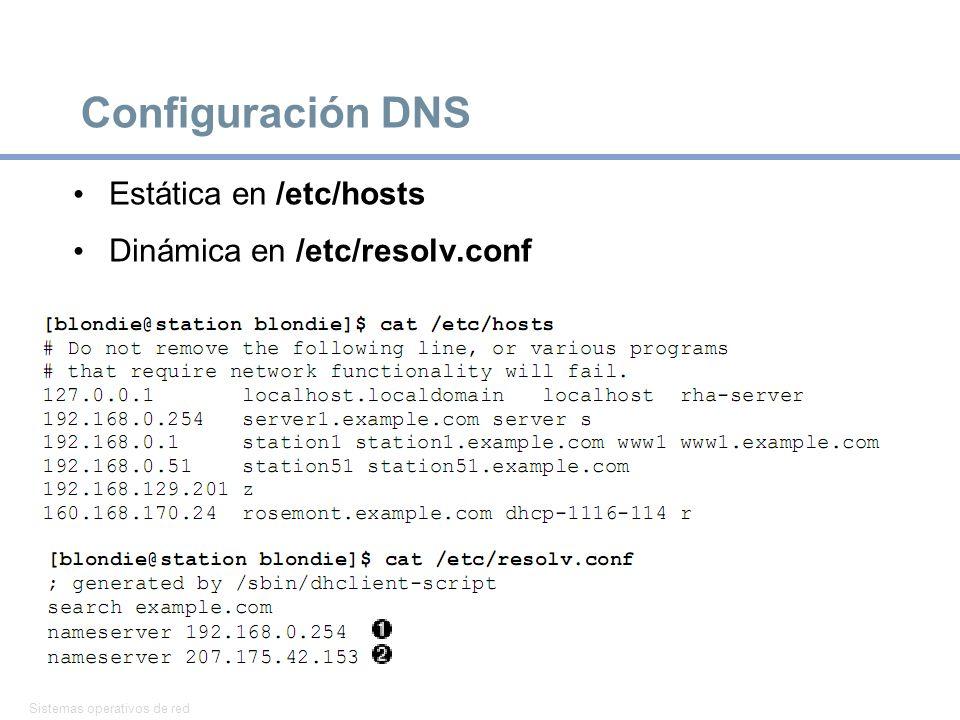 Configuración DNS Estática en /etc/hosts Dinámica en /etc/resolv.conf