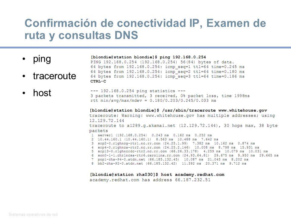 Confirmación de conectividad IP, Examen de ruta y consultas DNS