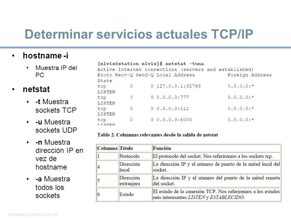 Determinar servicios actuales TCP/IP