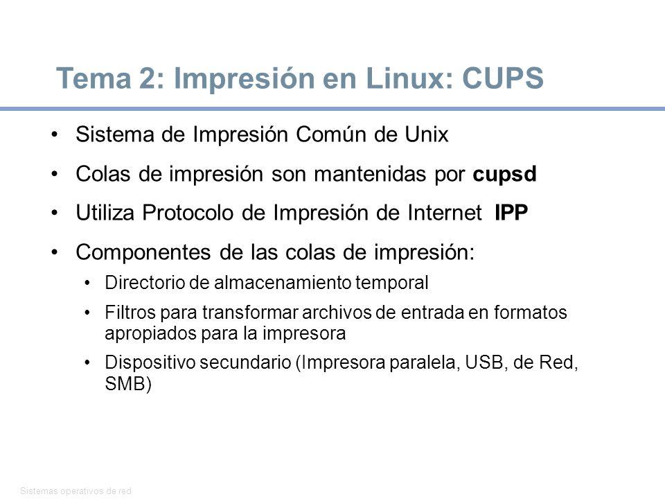 Tema 2: Impresión en Linux: CUPS