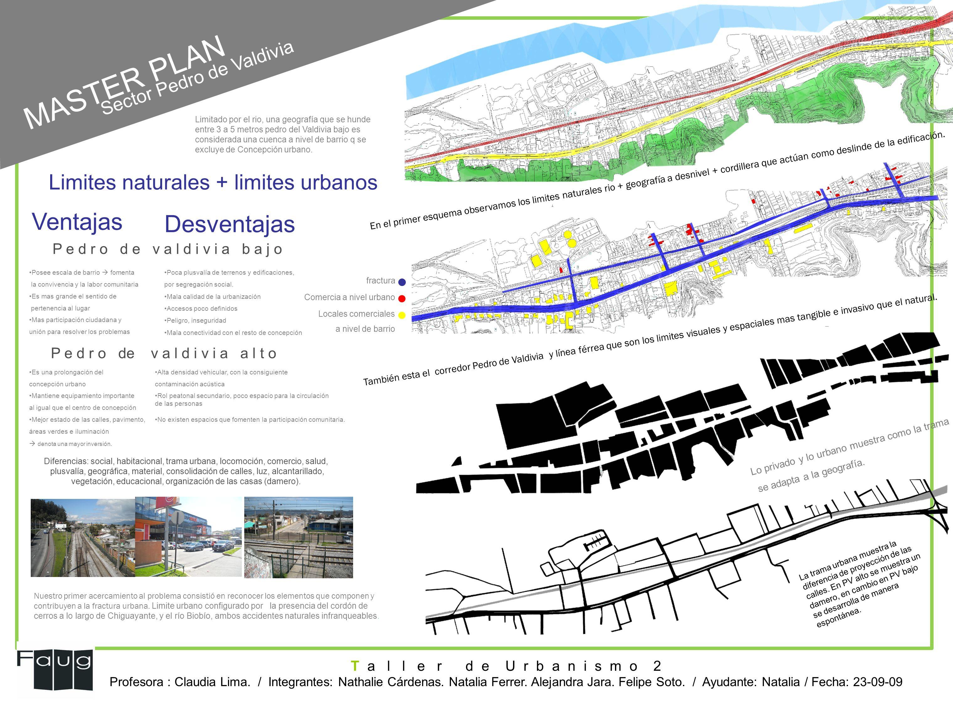 MASTER PLAN Limites naturales + limites urbanos Ventajas Desventajas