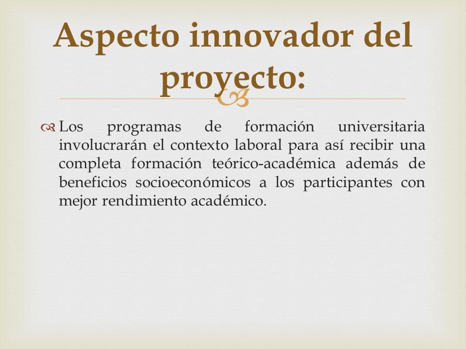 Aspecto innovador del proyecto:
