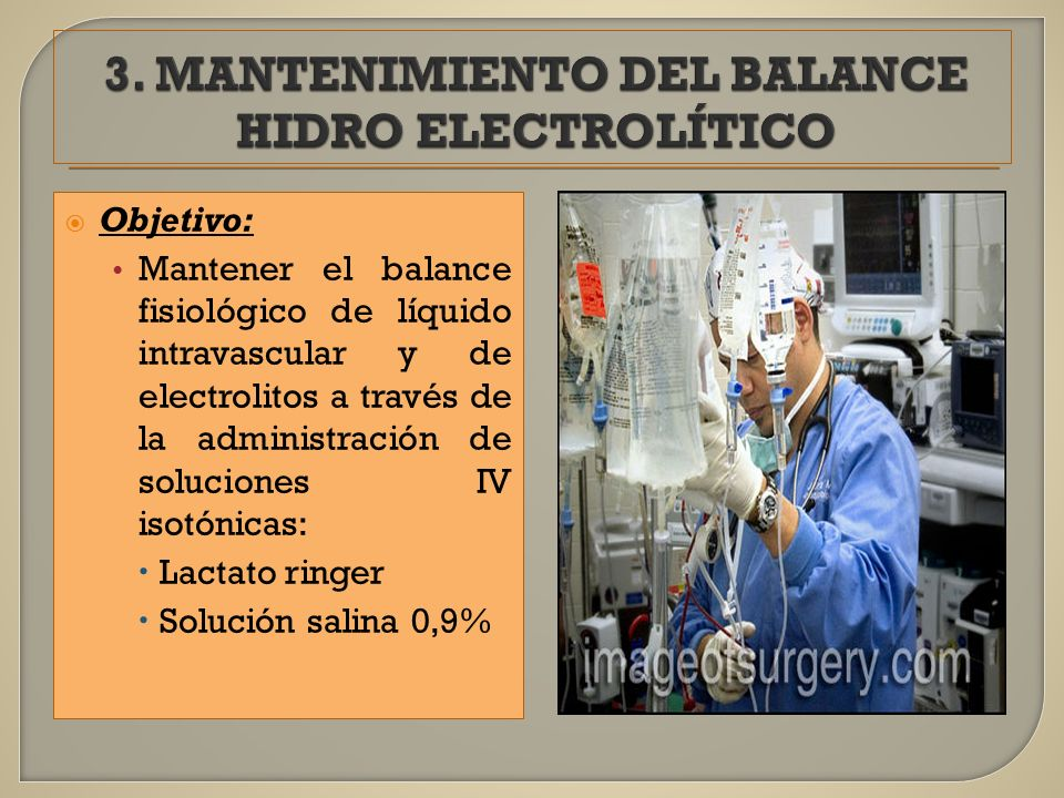 3. MANTENIMIENTO DEL BALANCE HIDRO ELECTROLÍTICO