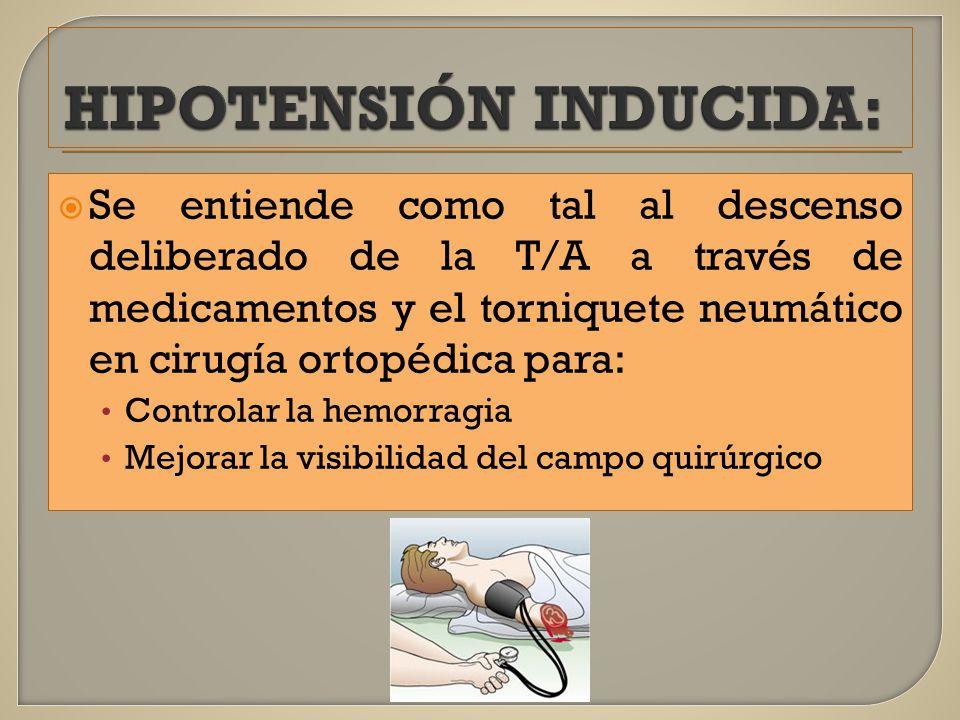 HIPOTENSIÓN INDUCIDA: