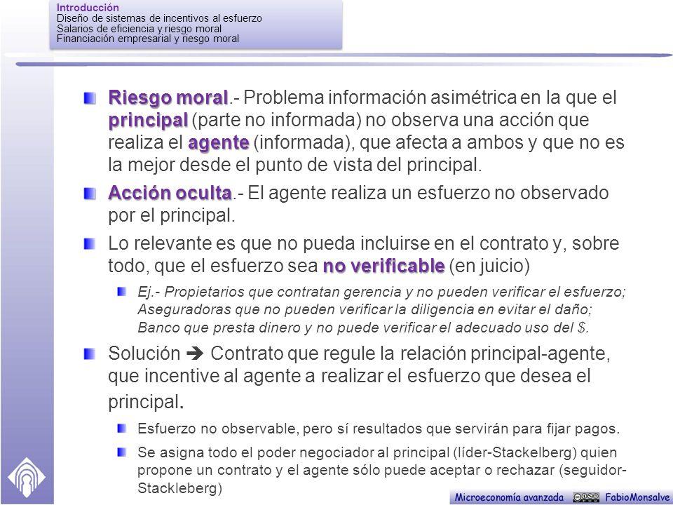 Introducción Diseño de sistemas de incentivos al esfuerzo. Salarios de eficiencia y riesgo moral. Financiación empresarial y riesgo moral.