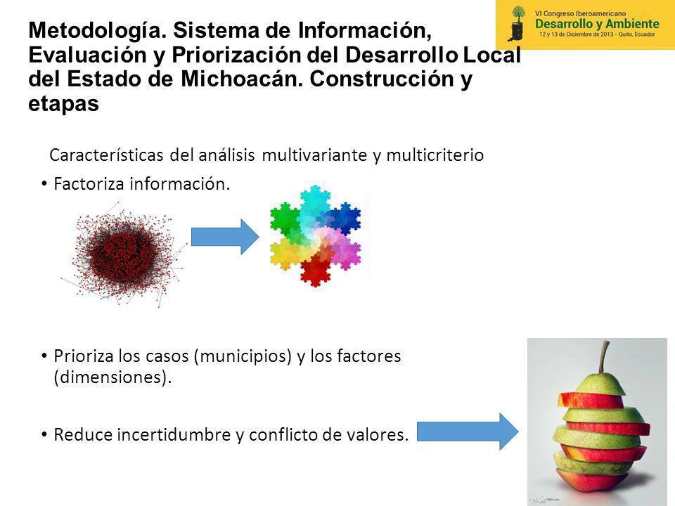 Metodología. Sistema de Información, Evaluación y Priorización del Desarrollo Local del Estado de Michoacán. Construcción y etapas