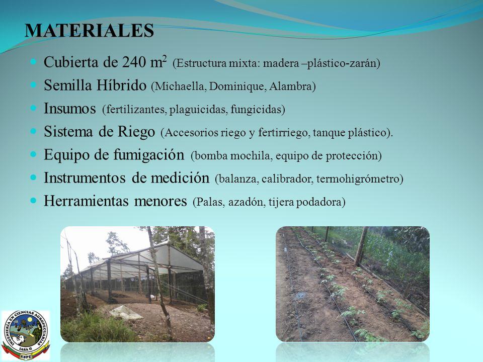 MATERIALES Cubierta de 240 m2 (Estructura mixta: madera –plástico-zarán) Semilla Híbrido (Michaella, Dominique, Alambra)