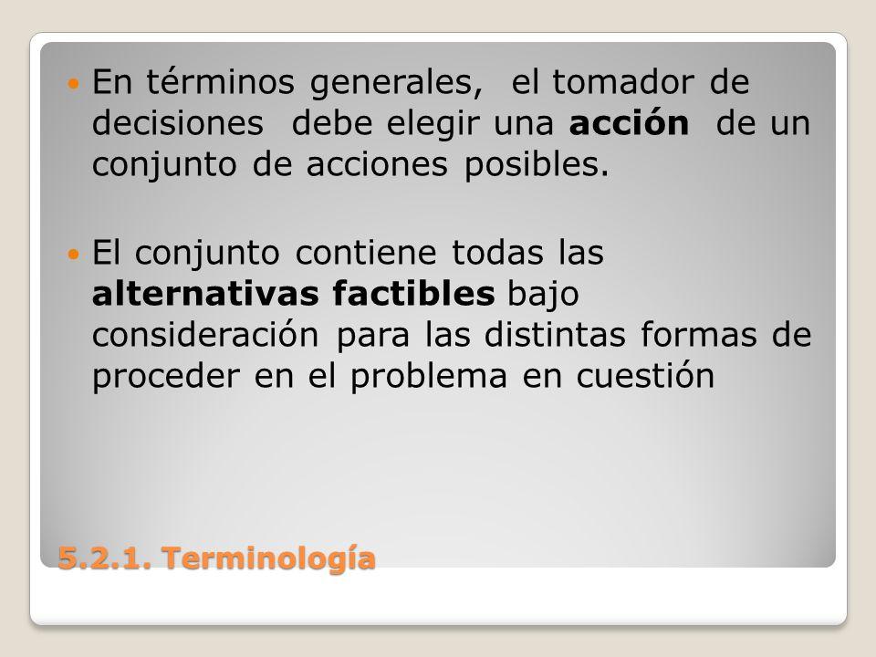 En términos generales, el tomador de decisiones debe elegir una acción de un conjunto de acciones posibles.