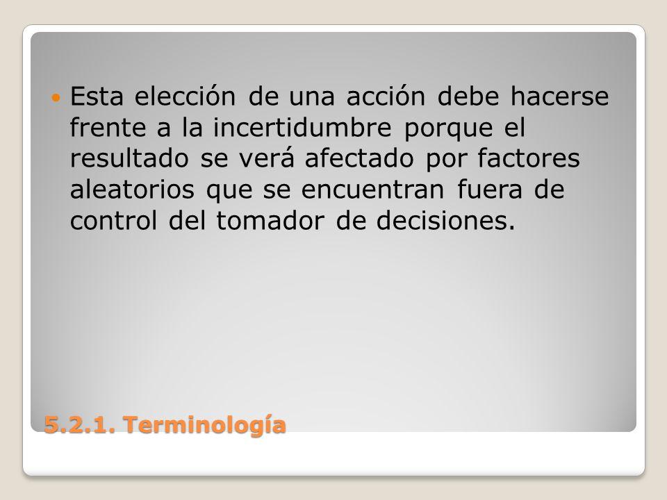 Esta elección de una acción debe hacerse frente a la incertidumbre porque el resultado se verá afectado por factores aleatorios que se encuentran fuera de control del tomador de decisiones.