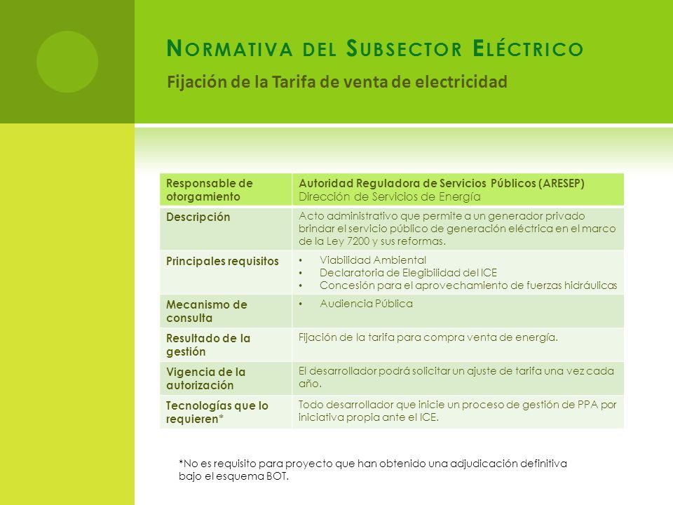Normativa del Subsector Eléctrico