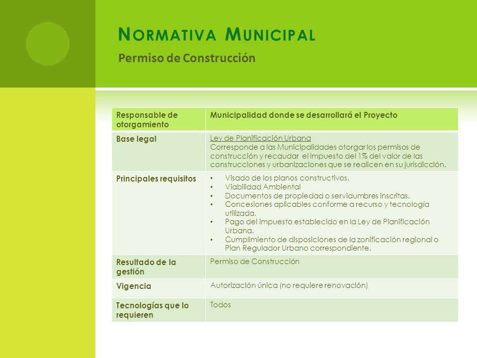 Normativa Municipal Permiso de Construcción