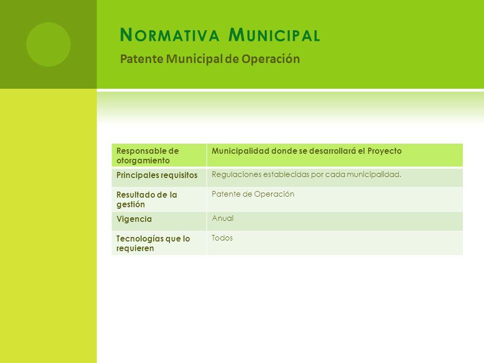 Normativa Municipal Patente Municipal de Operación