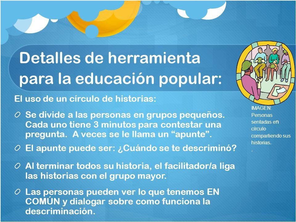 Detalles de herramienta para la educación popular: