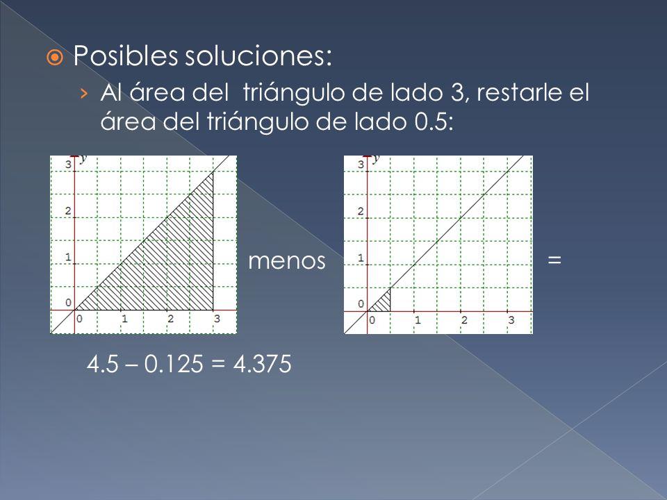 Posibles soluciones: Al área del triángulo de lado 3, restarle el área del triángulo de lado 0.5: menos =