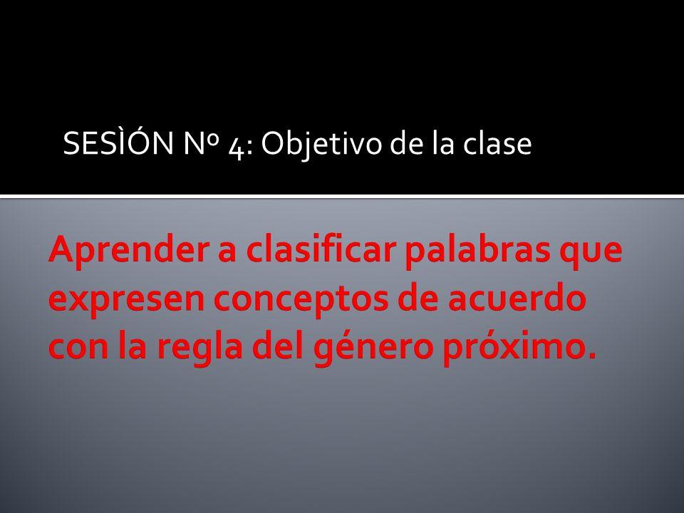 SESÌÓN Nº 4: Objetivo de la clase