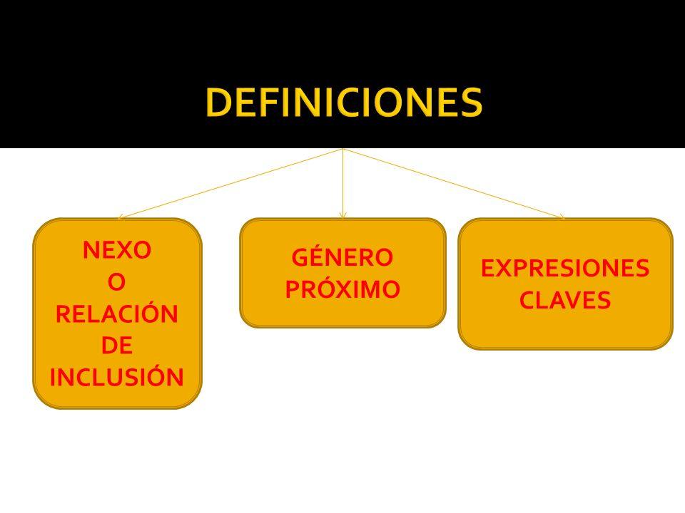 DEFINICIONES NEXO GÉNERO PRÓXIMO EXPRESIONES CLAVES O