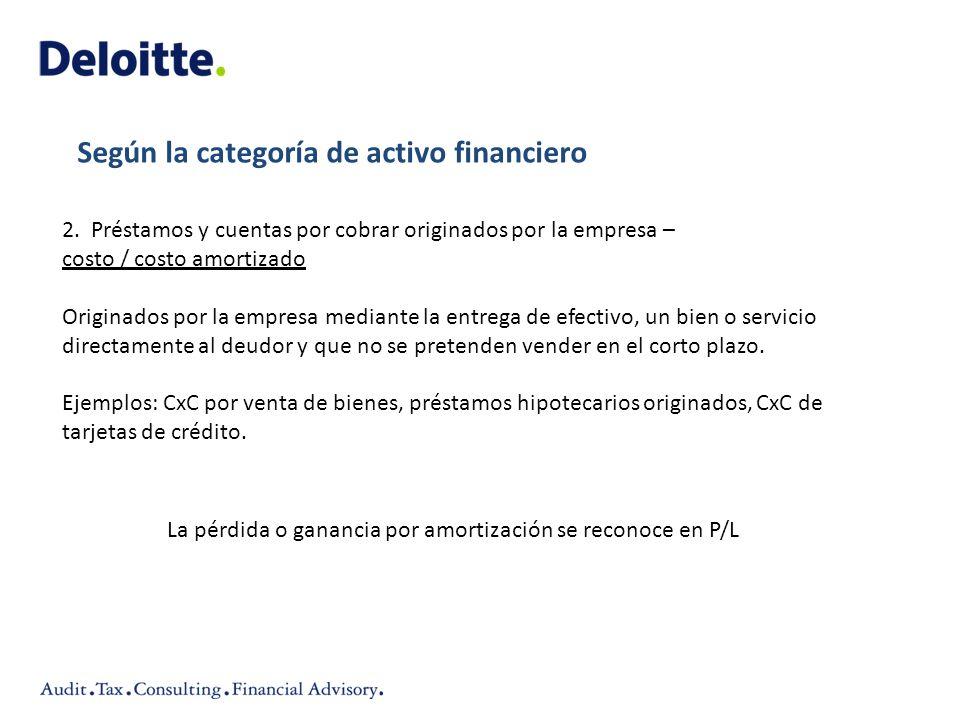 Según la categoría de activo financiero