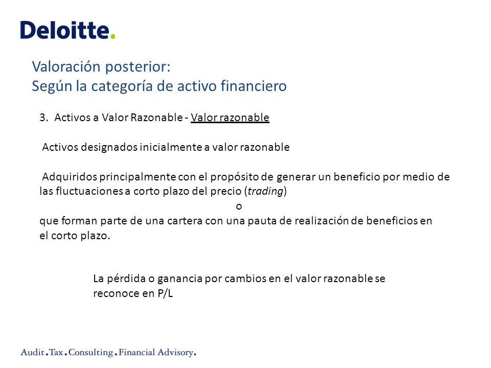 Valoración posterior: Según la categoría de activo financiero