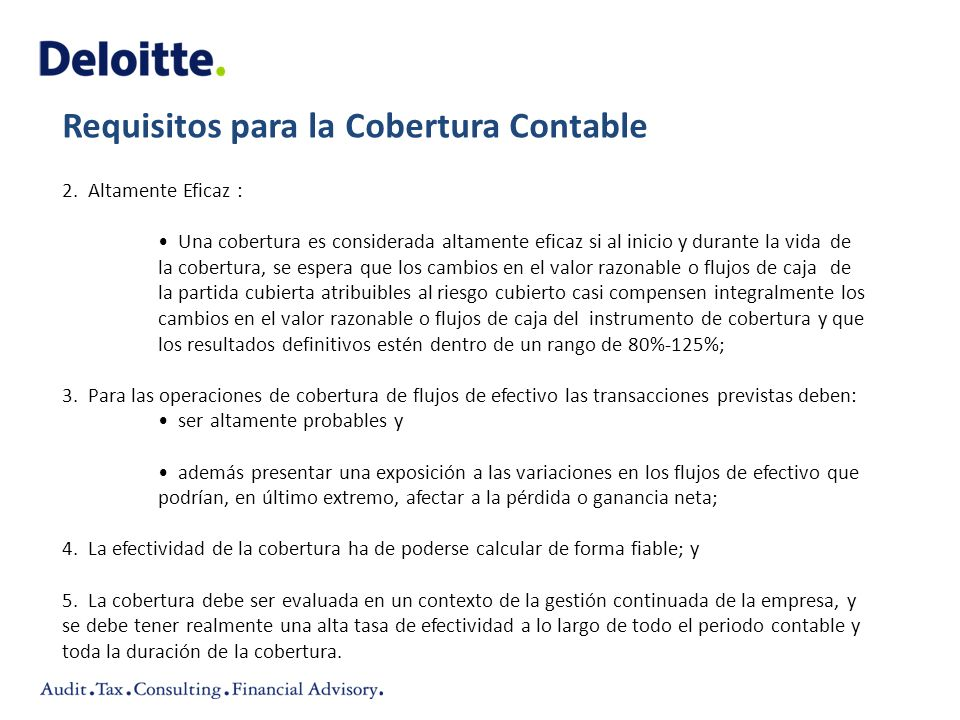 Requisitos para la Cobertura Contable