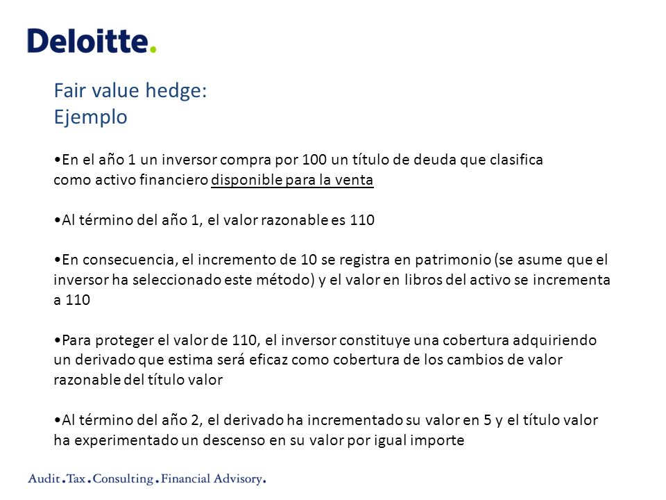 Fair value hedge: Ejemplo