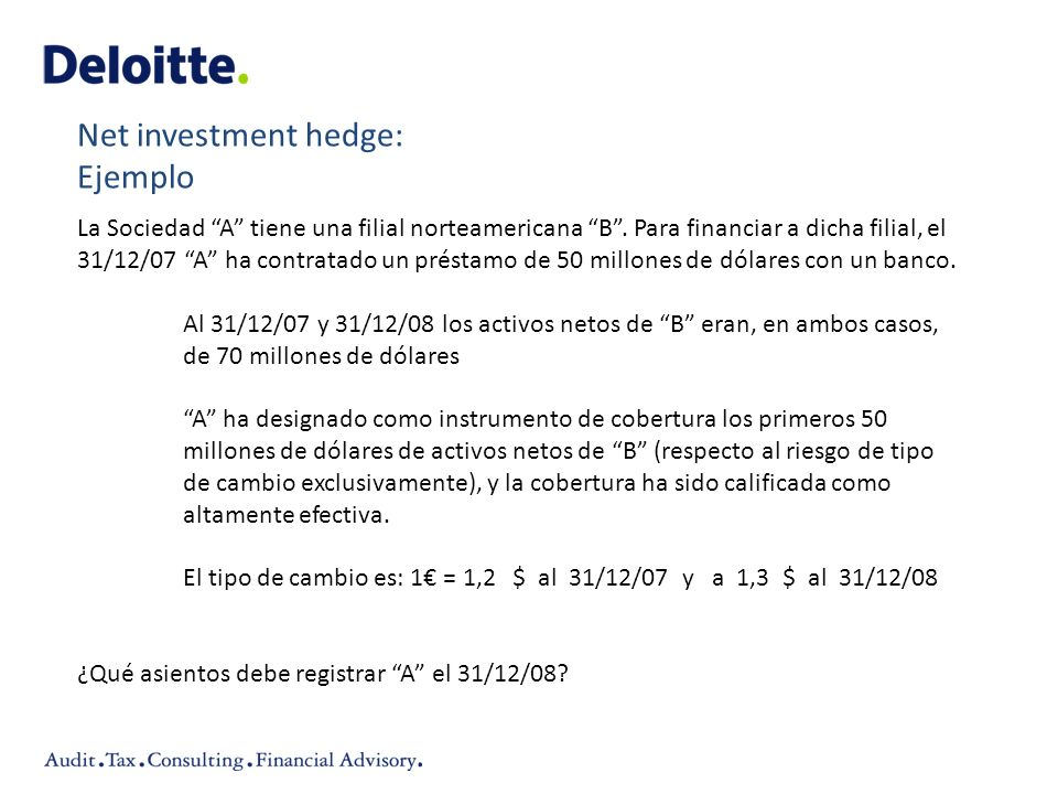Net investment hedge: Ejemplo