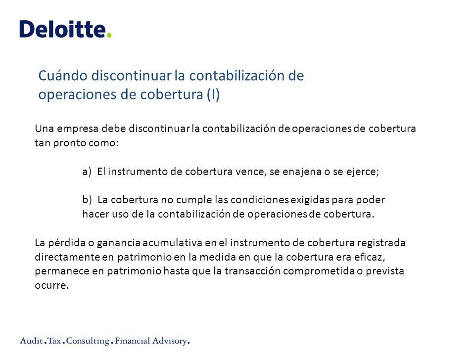 Cuándo discontinuar la contabilización de operaciones de cobertura (I)