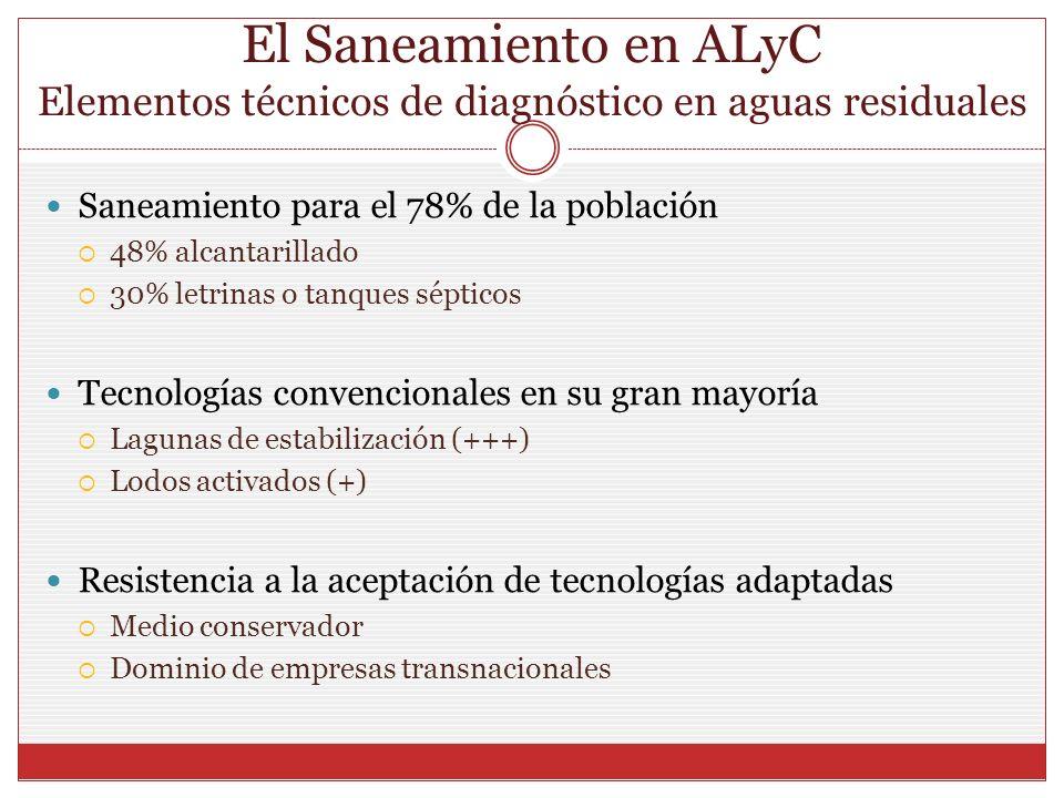 El Saneamiento en ALyC Elementos técnicos de diagnóstico en aguas residuales