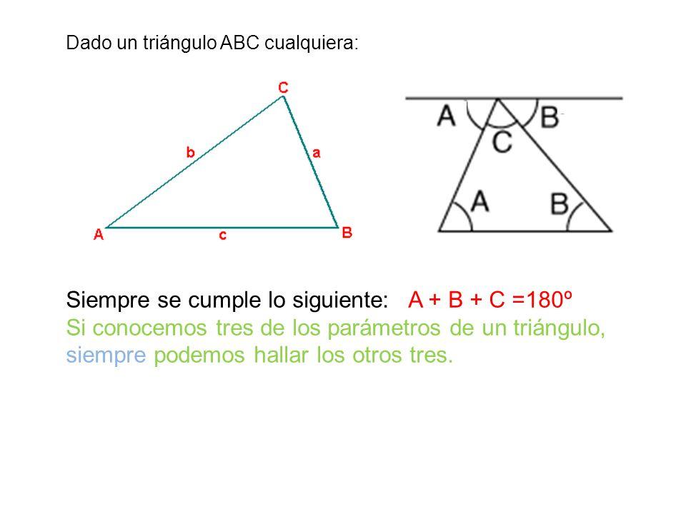 Siempre se cumple lo siguiente: A + B + C =180º
