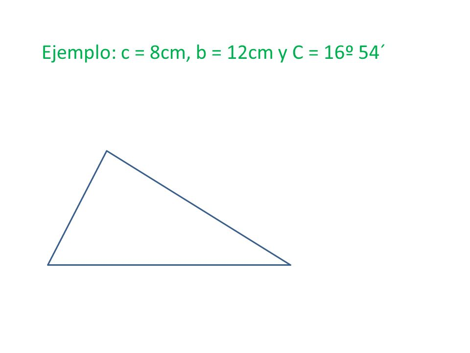 Ejemplo: c = 8cm, b = 12cm y C = 16º 54´