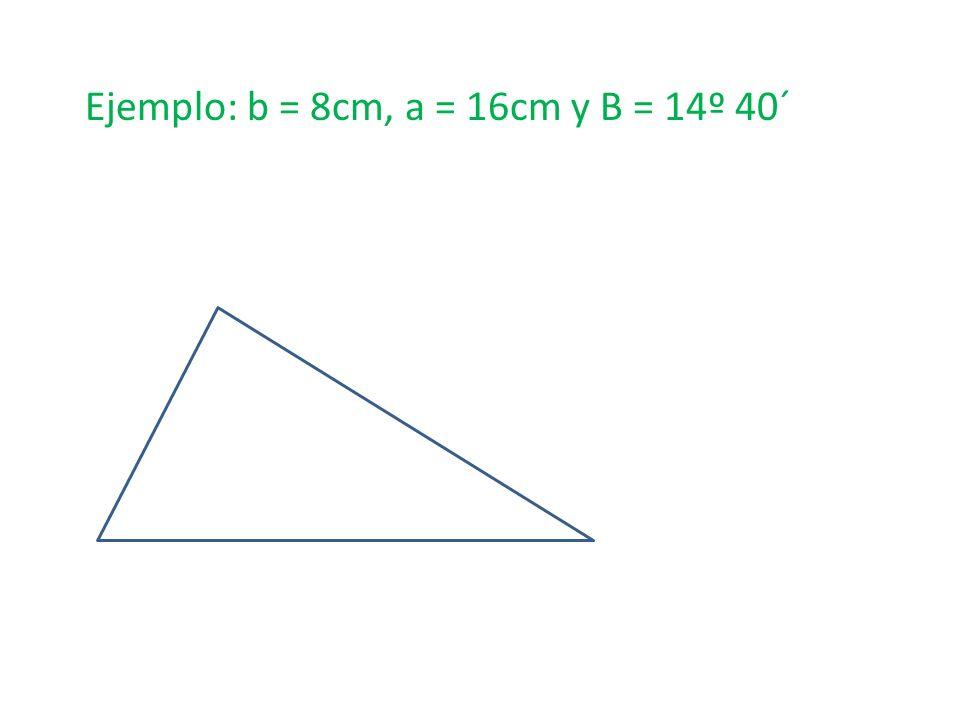Ejemplo: b = 8cm, a = 16cm y B = 14º 40´