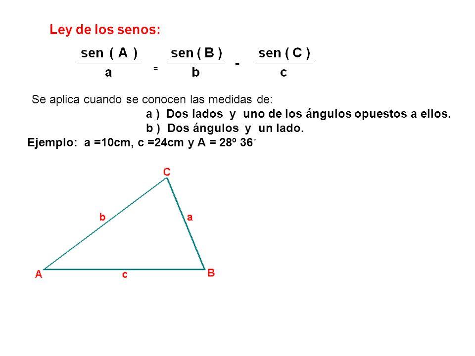 Ley de los senos: a ) Dos lados y uno de los ángulos opuestos a ellos.