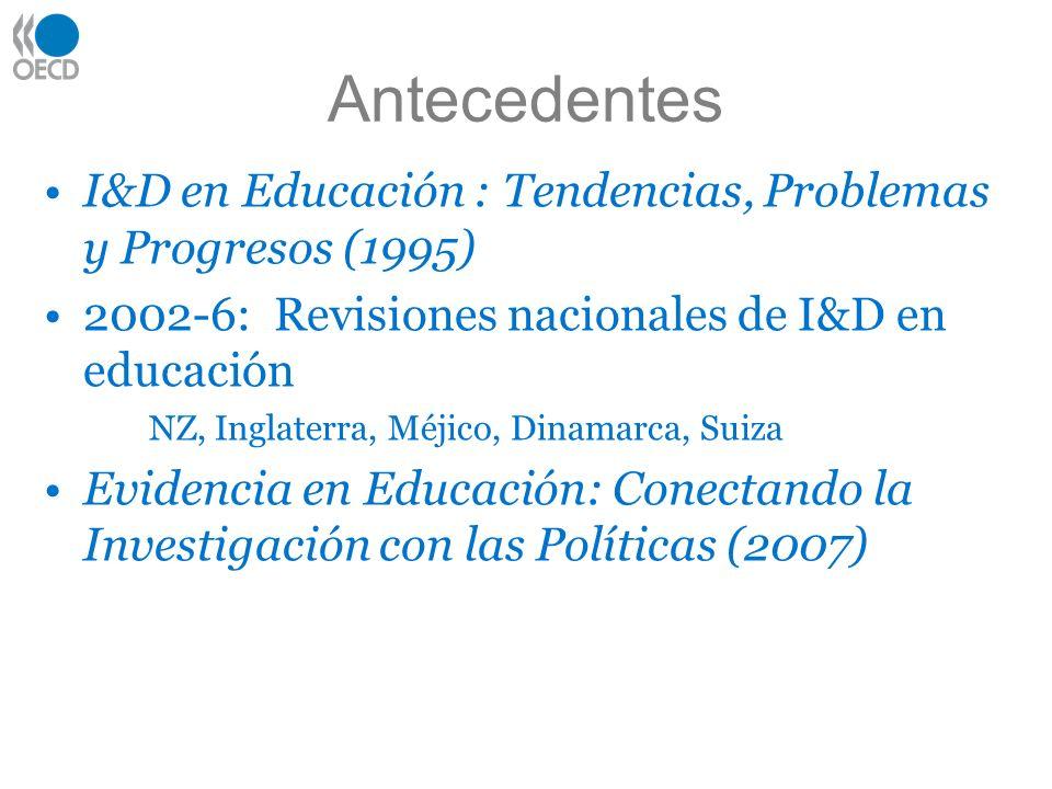 Antecedentes I&D en Educación : Tendencias, Problemas y Progresos (1995) 2002-6: Revisiones nacionales de I&D en educación.