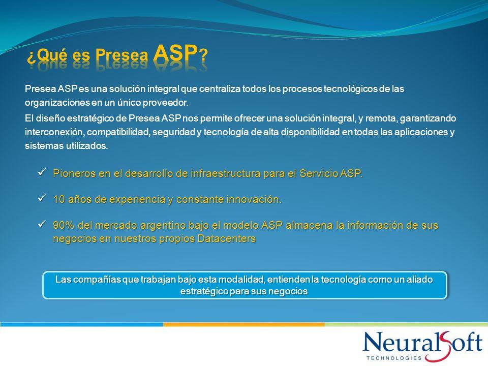 ¿Qué es Presea ASP Presea ASP es una solución integral que centraliza todos los procesos tecnológicos de las organizaciones en un único proveedor.