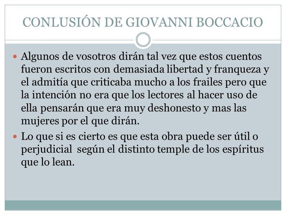 CONLUSIÓN DE GIOVANNI BOCCACIO
