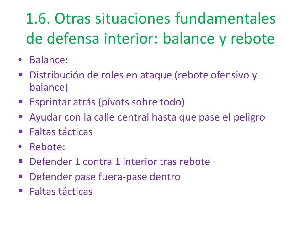 1.6. Otras situaciones fundamentales de defensa interior: balance y rebote